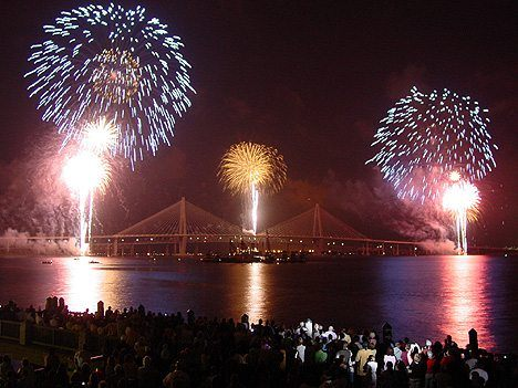 Fourth of July - Ravenel Bridge Fireworks - Charleston South Carolina - Transworld, Inc. Electrical Contractors Safety Tips