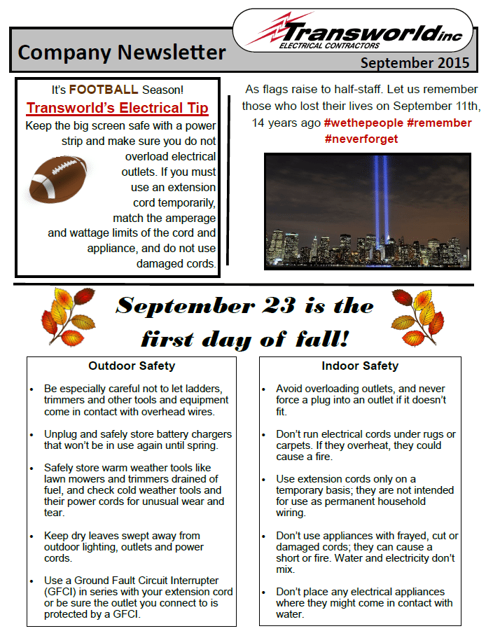 Transworld, Inc. Electrical Contractor's August Newsletter