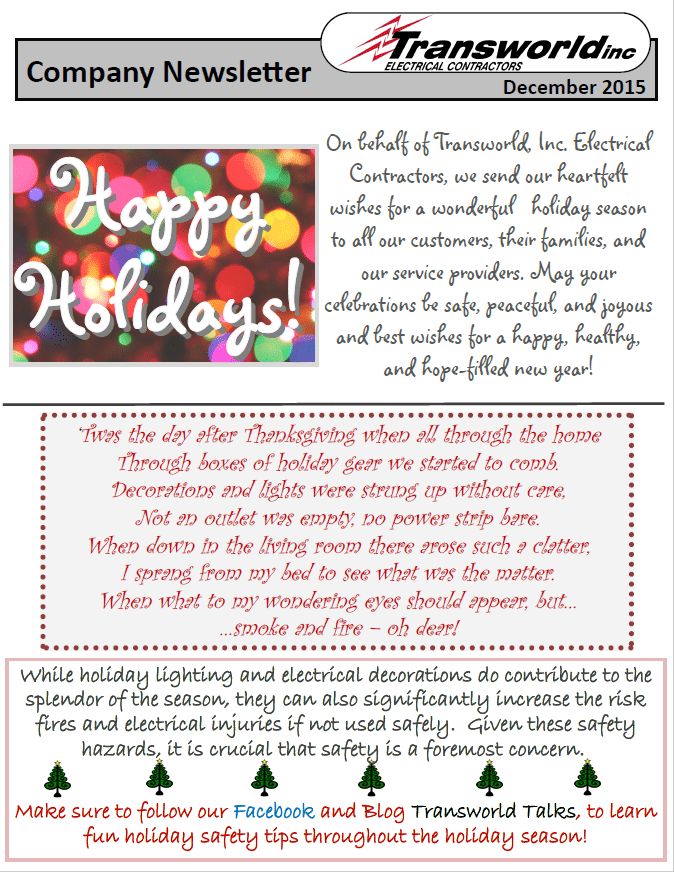December Newsletter Transworld Inc. Electrical Contractors