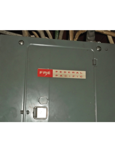 Federal Pacific Electric (FPE) circuit breaker panel with Stab-Lok circuit breakers, Transworld, Inc. Electrical Contractor Licensed Electrician