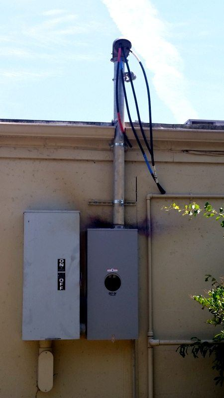 Local Charleston Electrician - Transworld, Inc. Electrical Contractors - repairs fallen service mast/