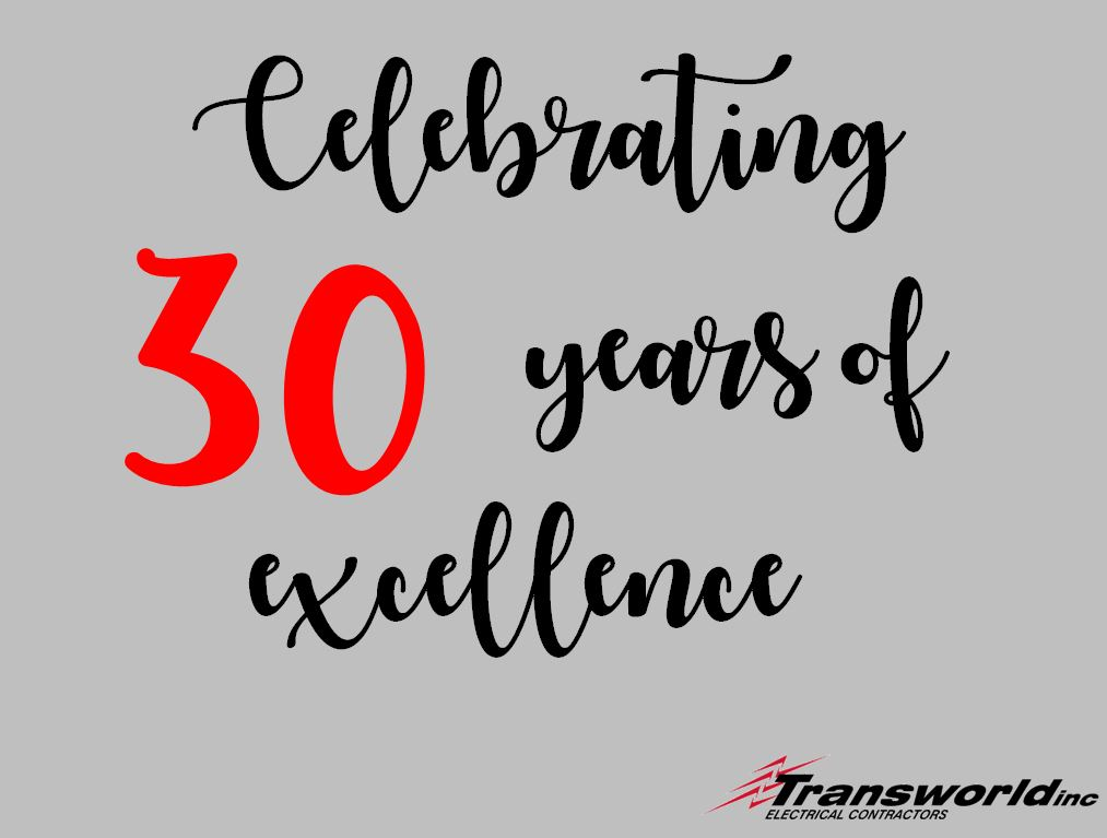 Transworld, Inc. Electrical Contractors celebrated 30th anniversary in Charleston SC as Local electrical contractors